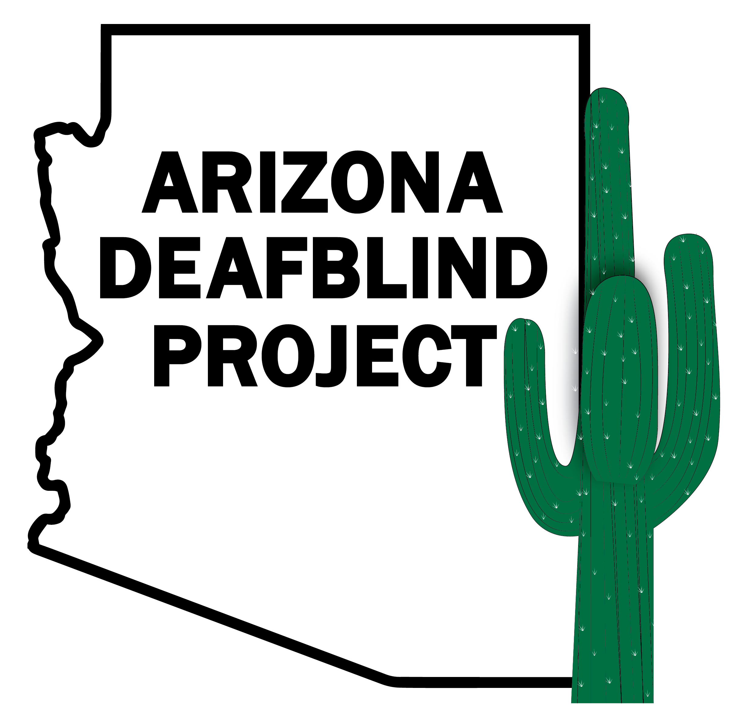 Arizona Deaf Blind Project logo represented by the AZ state outline and a cactus